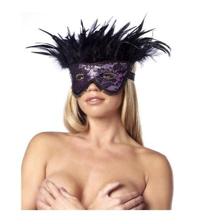 Mascara de Lujo con Plumas Purpura