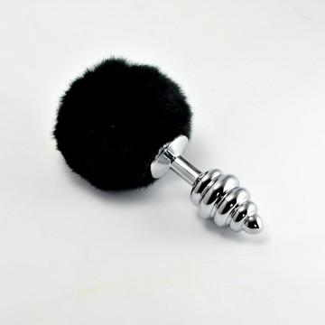 Plug Anal de Metal en Espiral con Pompon Negro