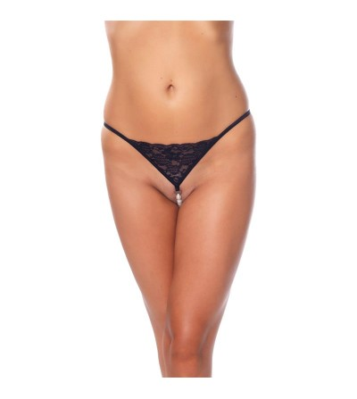 Rimba Amorable Tanga con Perlas Color Negro Talla unica
