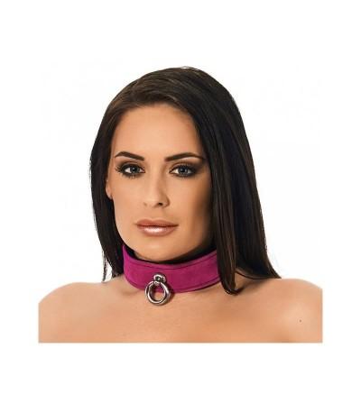 Collar de Cuero Rosa Ajustable