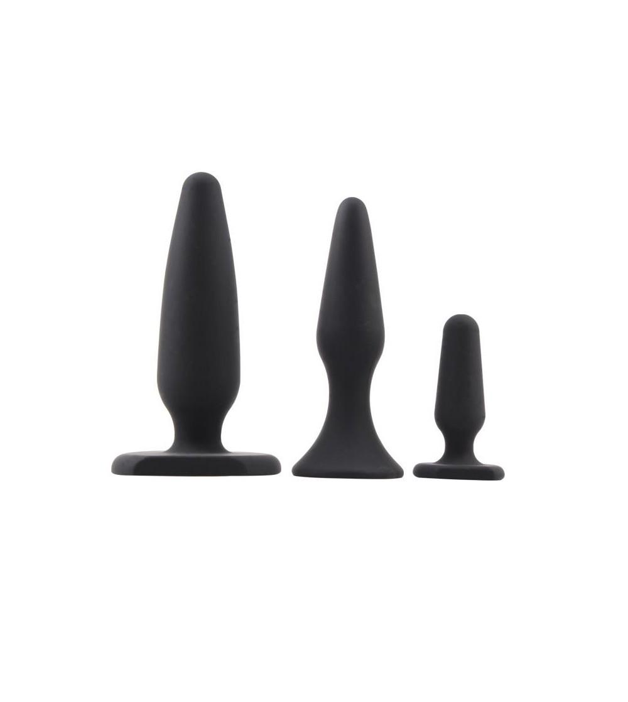 Pack 3 Plug Anal Traimer Kit Silicona Negro