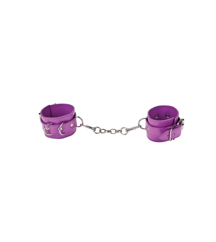 Shots Ouch Esposas de Cuero Purpura