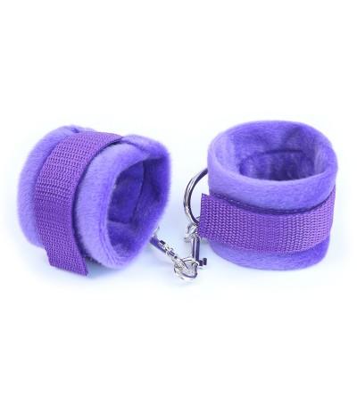 Esposas de Tela con Velcro para Munecas con Pelo Largo Purpura