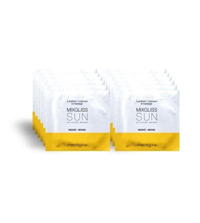 Mixgliss Pack de 12 Monodosis Lubricante de Silicona Aroma a Monoi SUN 4 ml