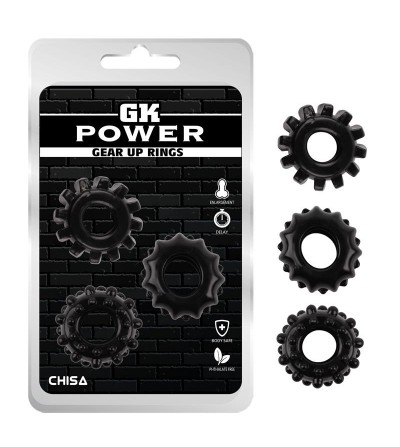 Kit 3 Anillos Pene Gear Up Negro