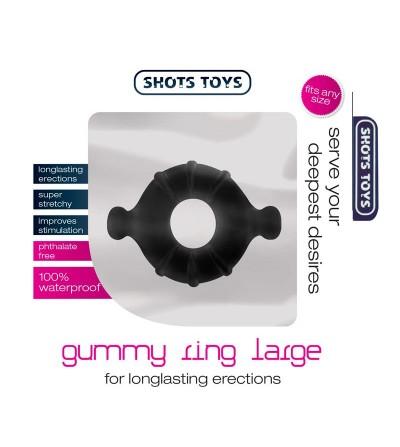 Shots Toys Gummy Anillo para el Pene Color Negro Grande