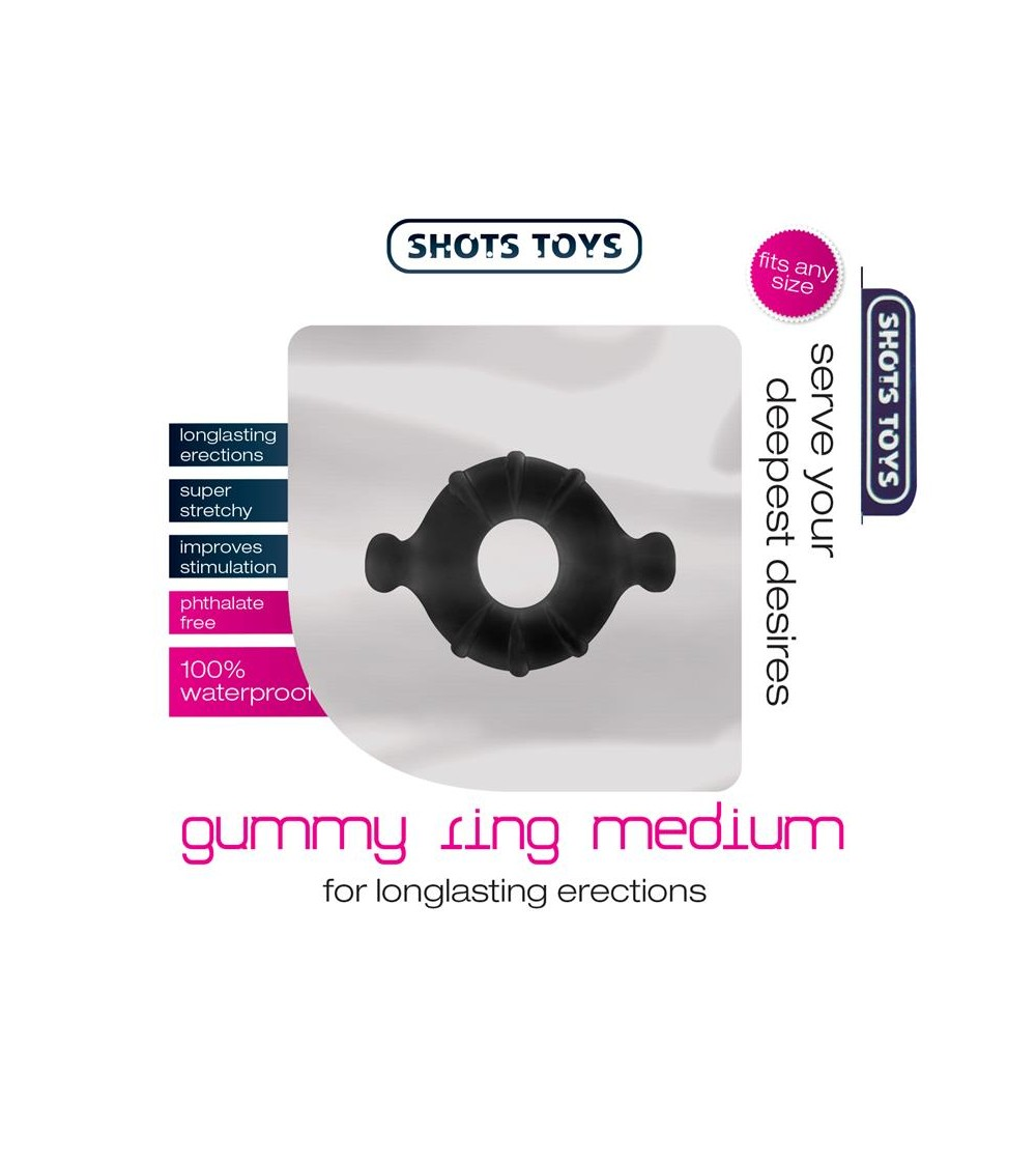 Shots Toys Gummy Anillo para el Pene Color Negro Mediano