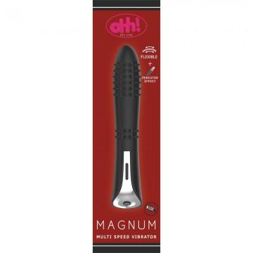 Vibrador con Efecto Percutor Magnum Silicona 22 x 46 cm Negro
